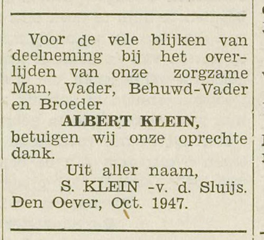 Dankbetuiging Albert Klein overleden en Susanne van der Sluijs.
