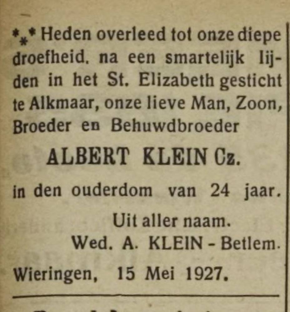 Albert Klein Cz overleden mei 1927, 24 jaar, gehuwd A. Betlem.