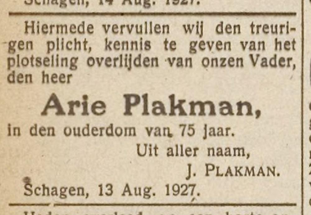 Arie Plakman overleden 16 augustus 1927