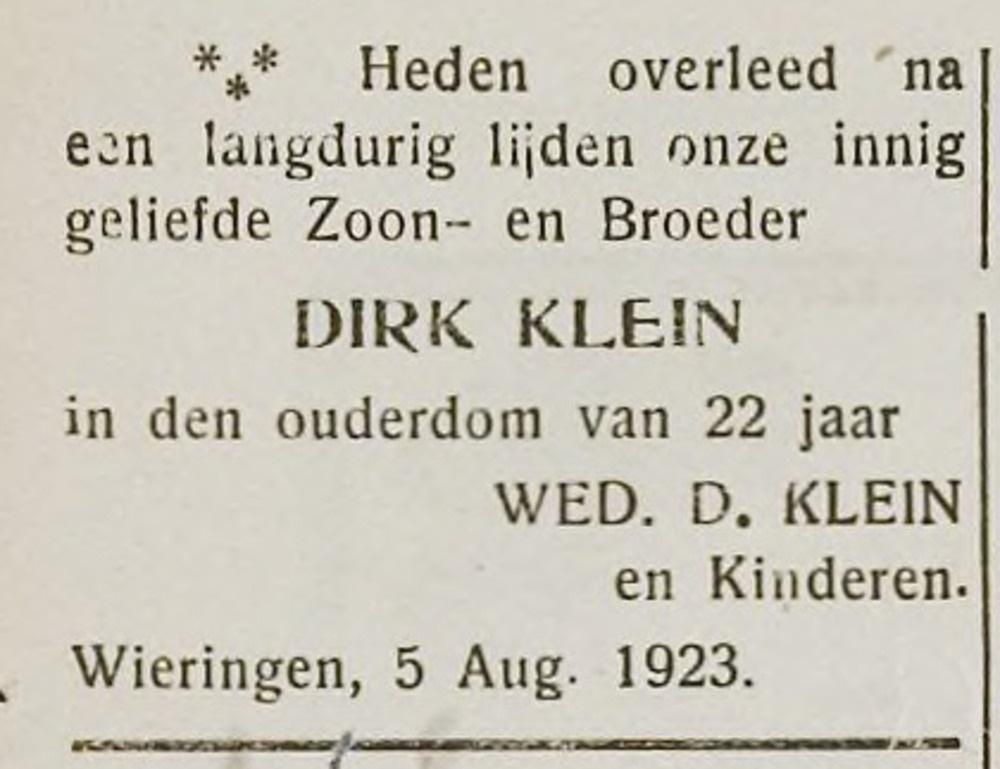 Dirk Klein overleden augustus 1923