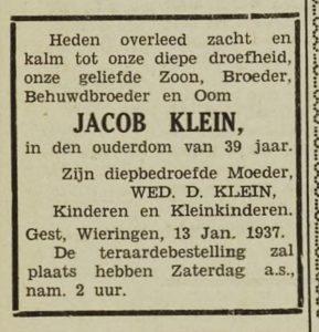 Jacob Klein overleden 1937