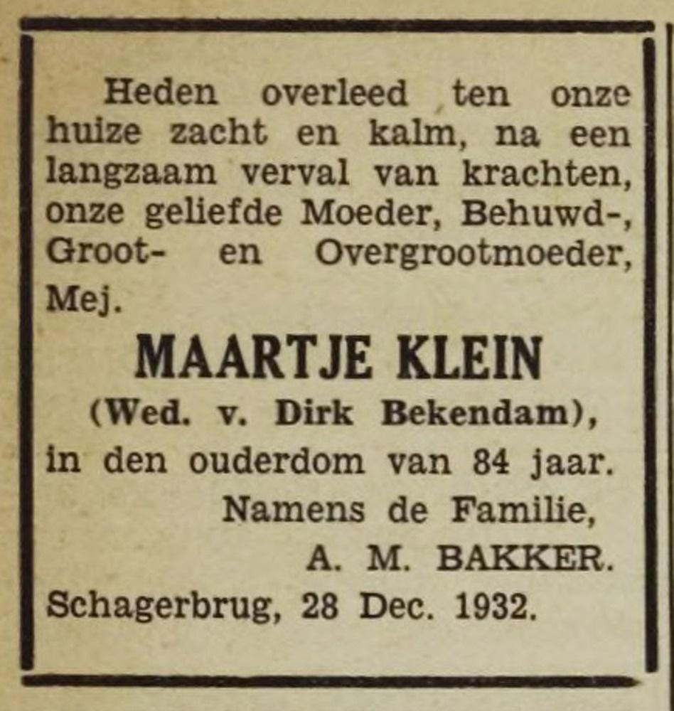Maartje Bekedam Klein overleden 84 jaar