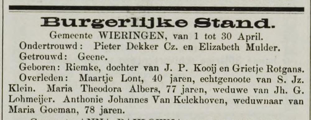 Maartje Lont, overleden 05-04-1884