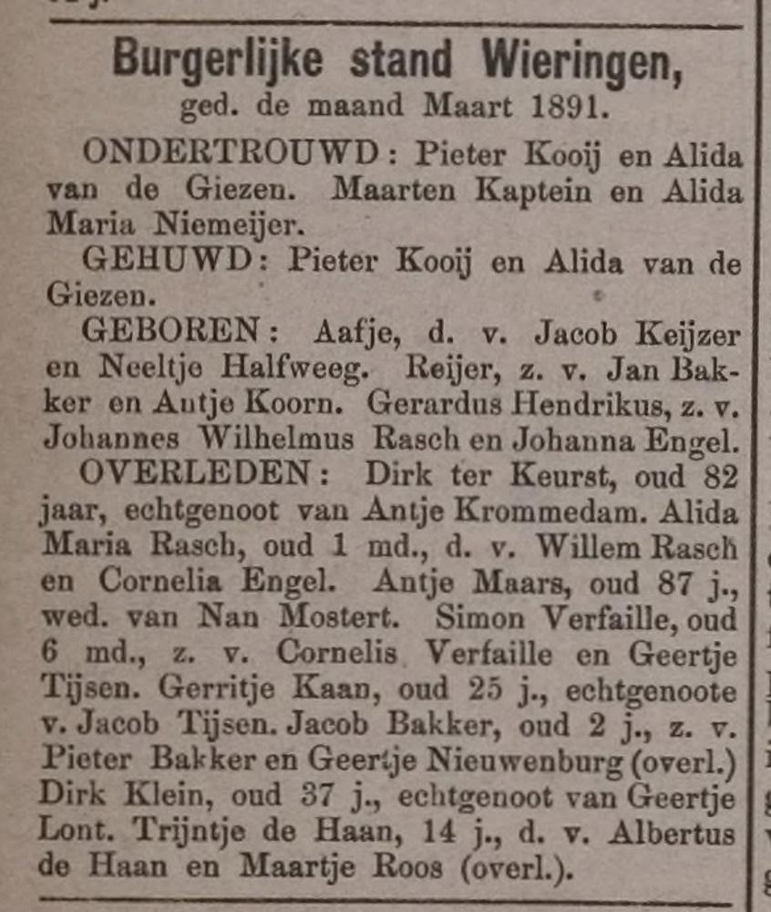 Overlijden Dirk Klein, 1891 gehuwd Lont