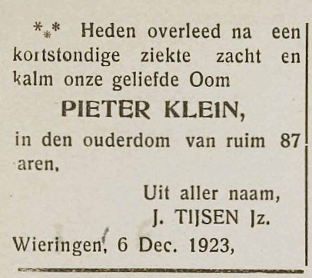 Pieter Klein overleden december 1923