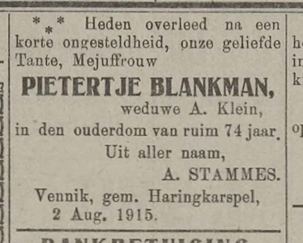 Pietertje Blankman, weduwe Albert Klein 2-08-1915
