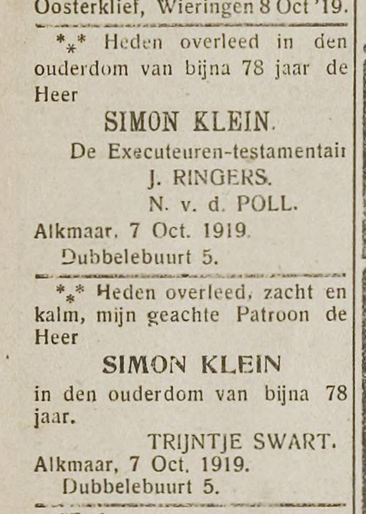 Simon Klein Alkmaar overleden 1919