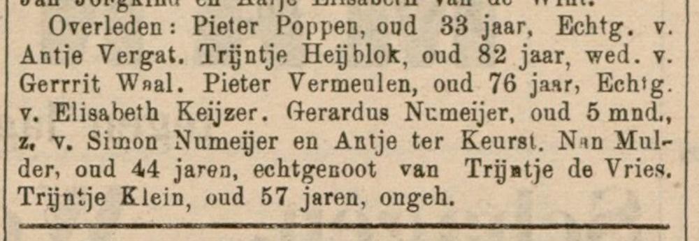 Trijntje Klein overleden 4 juli 1901