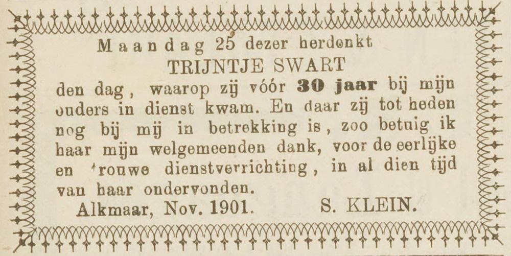 Trijntje Swart 24 november 1901