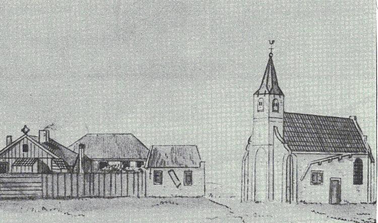 Boerderij van Albert en zoon Simon Klein, links van de kerk. Vroeger stond naar het huidige kerkhof op Stroe een kerk/kapel en school.