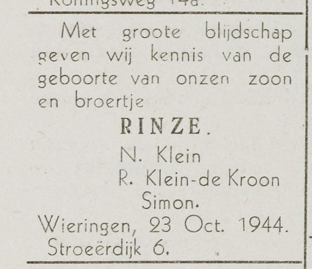 Rinze-Klein-geboren-1944