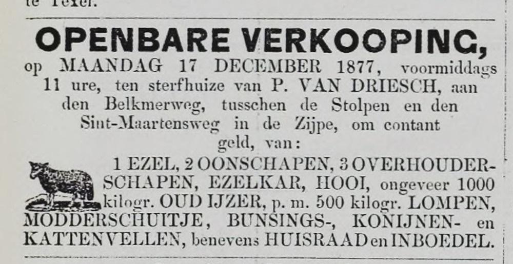 Openbare verkoping van wijlen Pieter van Driesch.